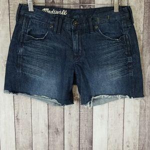 Madewell dark wash cutoff cotton jean shorts